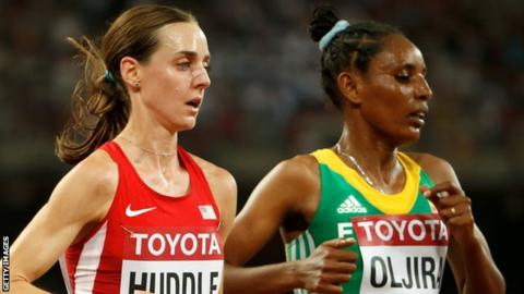 Belaynesh Oljira battles with American Molly Huddle during the 10,000m final at this year's World Championships in Beijing