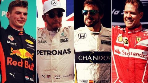 Max Verstappen, Lewis Hamilton, Fernando Alonso and Sebastian Vettel
