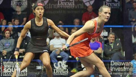 Nicol David and Laura Massaro