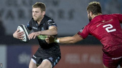 Finn Russell in action for Glasgow against Munster