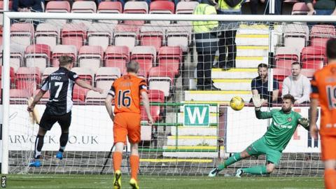 Cammy Bell saves from Gavin Reilly