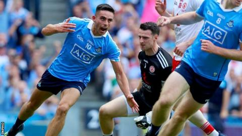 Niall Scully celebrates scoring Dublin's second goal in the first half