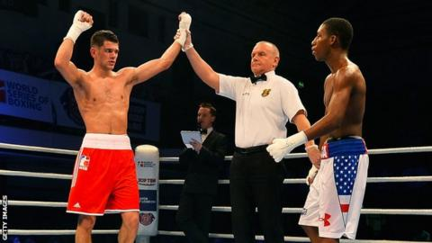 Joe Cordina has his hand raised by the referee after beating Bruce Carrington of the USA Knockouts when fighting for British Lionhearts in 2016