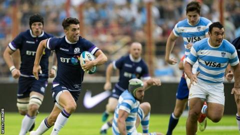 Adam Hastings in action for Scotland against Argentina