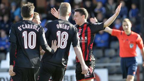 Paul Heatley scored the winning goal for Crusaders against Glenavon after just three minutes