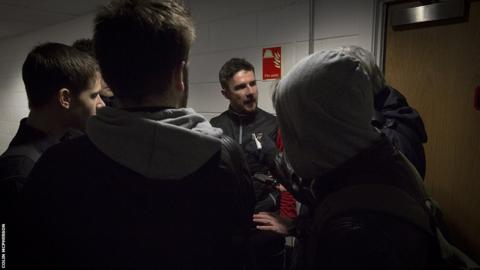 Clyde manager Barry Ferguson talks to the press after the match.