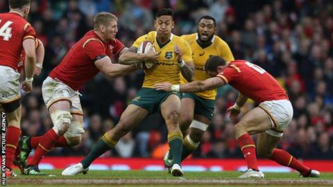 Full-back Israel Folau has played 62 Tests for Australia and scored 32 tries