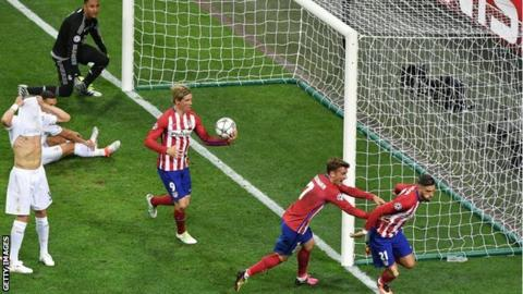 Yannick Carrasco (right) celebrates scoring in the 2016 Champions League final against Real Madrid