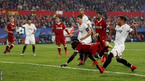 Sadio Mane scores for Liverpool against Sevilla in the Champions League