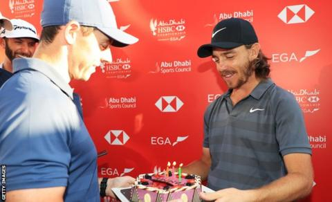 Rory McIlroy presented Tommy Fleetwood with a cake on his 27th birthday