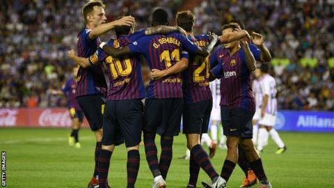Barcelona players celebrate