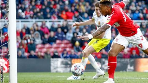 Britt Assombalonga scoring for Middlesbrough