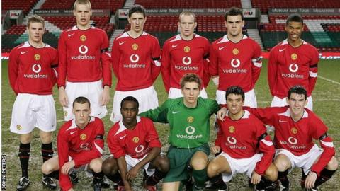 Febian Brandy and Manchester United team-mates