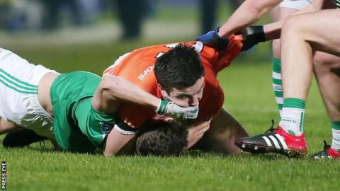 The Armagh and Fermanagh teams confronted each other during a heated Division Two league match at the Athletic Grounds