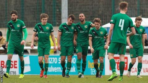 A last-minute winner from Liam Shotton (third from right) earned Nantwich Town their place in the last four