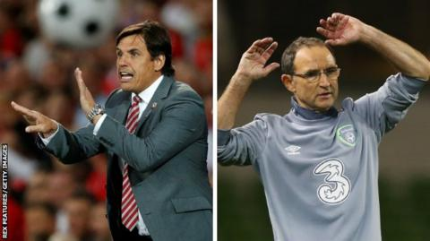Wales manager Chris Coleman and Republic of Ireland boss Martin O'Neill