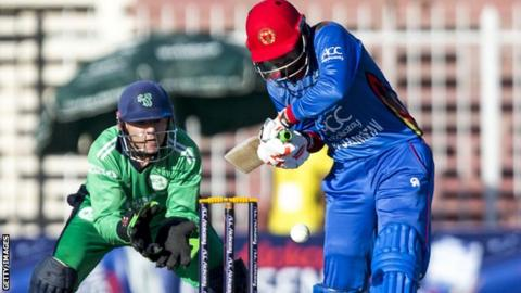 Afghanistan batsman Nasir Jamal plays a shot on his way to an impressive 53 against Ireland on Tuesday