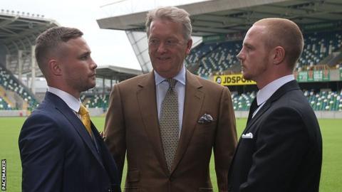 Carl Frampton (left), Frank Warren (centre) and Luke Jackson (right)