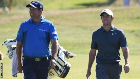 Padraig Harrington and Rory McIlroy during a practice round at this year's Open Championship