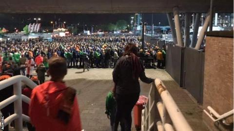 Northern Ireland fans queuing to get into the De Kuip Stadium
