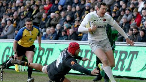 The first of Alex Goode's two tries was Sarries' second in the left corner in less than 10 minutes