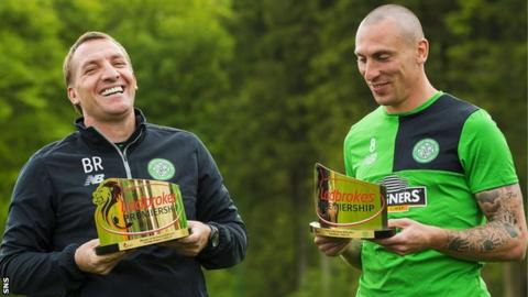 Celtic manager Brendan Rodgers and captain Scott Brown