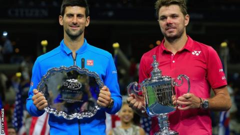 Novak Djokovic (left) with Stan Wawrinka after the US Open final