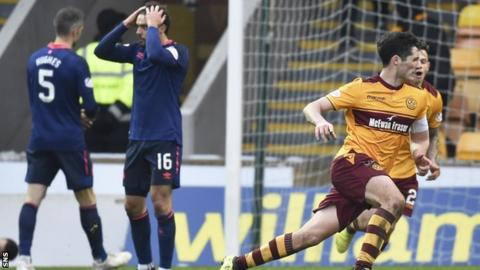 Motherwell's Carl McHugh (right) celebrates his goal to make it 2-1.