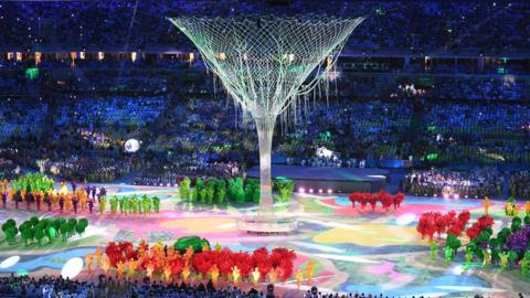 A large martini glass in the closing ceremony of the Rio 2016 Olympic Games at the Maracana stadium in Rio de Janeiro on August 21, 2016
