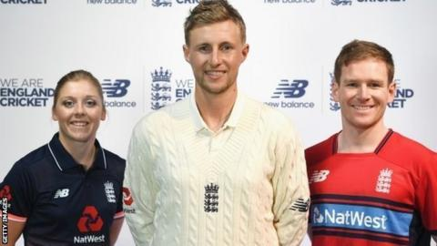 Heather Knight, Joe Root and Eoin Morgan