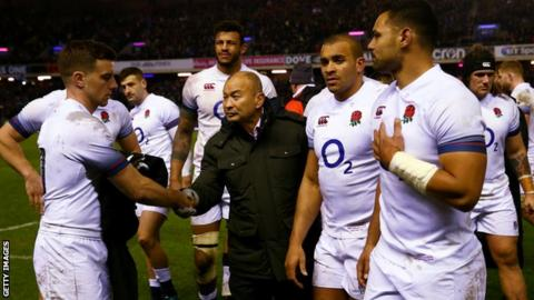 Head Coach of England Eddie Jones consoles George Ford and the team after defeat in the NatWest Six Nations match against Scotland