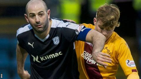Gary Harkins (left) in action for Dundee