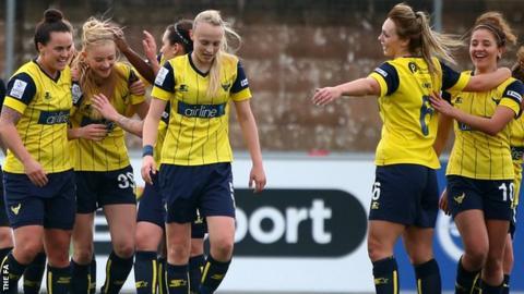 Oxford United women celebrate a goal in WSL