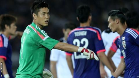 Eiji Kawashima in action for Japan