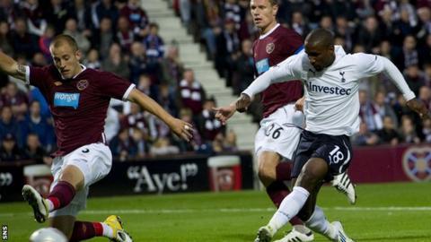 Jermain Defoe scoring for Tottenham against Hearts in 2011
