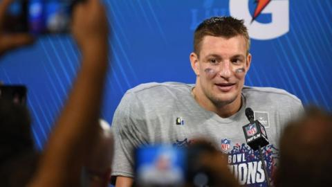 Rob Gronkowski in February after the New England patriots beat the Los Angeles Rams