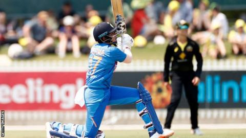 India opener Shafali Verma hits a boundary against Australia