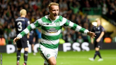 Leigh Griffiths celebrates scoring against Malmo
