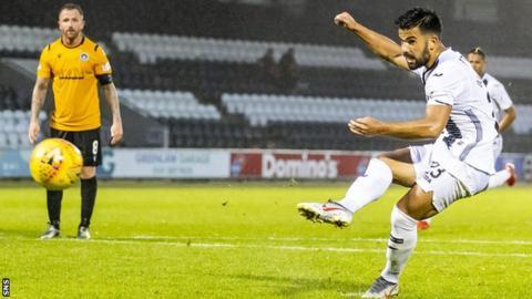 Oan Djorkaeff lashed in a spot-kick on his second St Mirren appearance