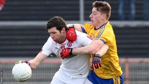 Sean Cavanagh battles with Roscommon's Niall McInerney during this year's Football League