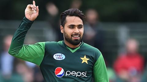 Faheem Ashraf in action for Pakistan