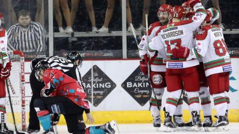 Cardiff Devils celebrate scoring against the Belfast Giants in Saturday night's league game