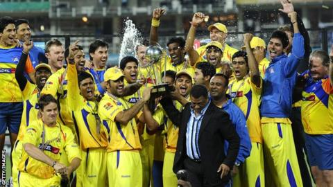 Chennai Super Kings celebrate winning the Champions League in 2010