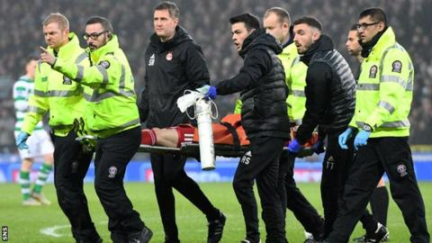 Injured Aberdeen winger Gary Mackay-Steven is carried off in the Scottish League Cup final
