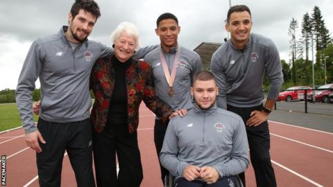 Leon Reid and other Commonwealth Games athletes Ben Reynolds, Adam McMullen and Jack Agnew with Dame Mary Peters at the launch of this year's Belfast International meet