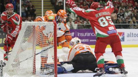 Sean Bentivoglio celebrates his goal for Cardiff Devils against Sheffield Steelers