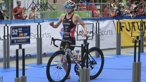 Manchester's Georgia Taylor-Brown in action at the triathlon World Cup in Madrid