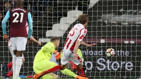 Joe Hart watches as Peter Crouch scores for Stoke City against West Ham