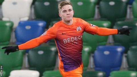 Josh Daniels celebrates after scoring for Glenavon against Linfield