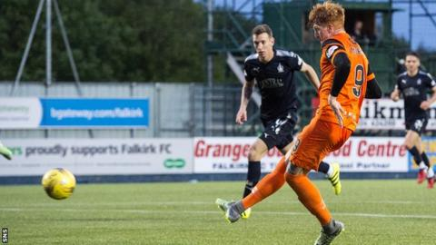 Simon Murray scores for Dundee United against Falkirk